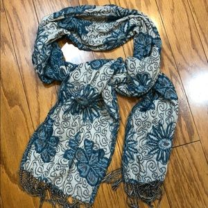 Teal and off white floral pashmina wrap